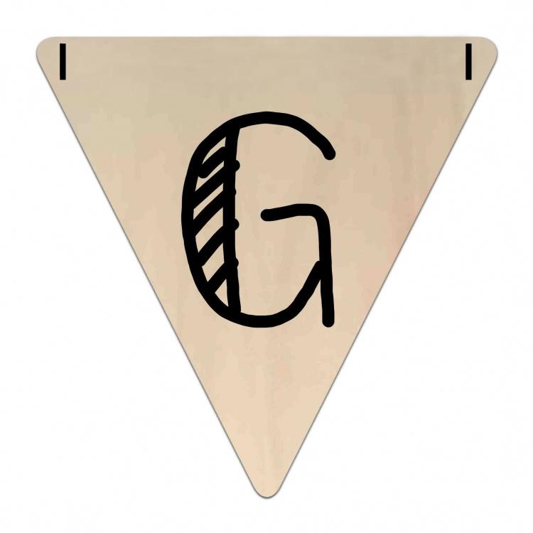 Houten Vlaggetje   G (letter) (per 5)