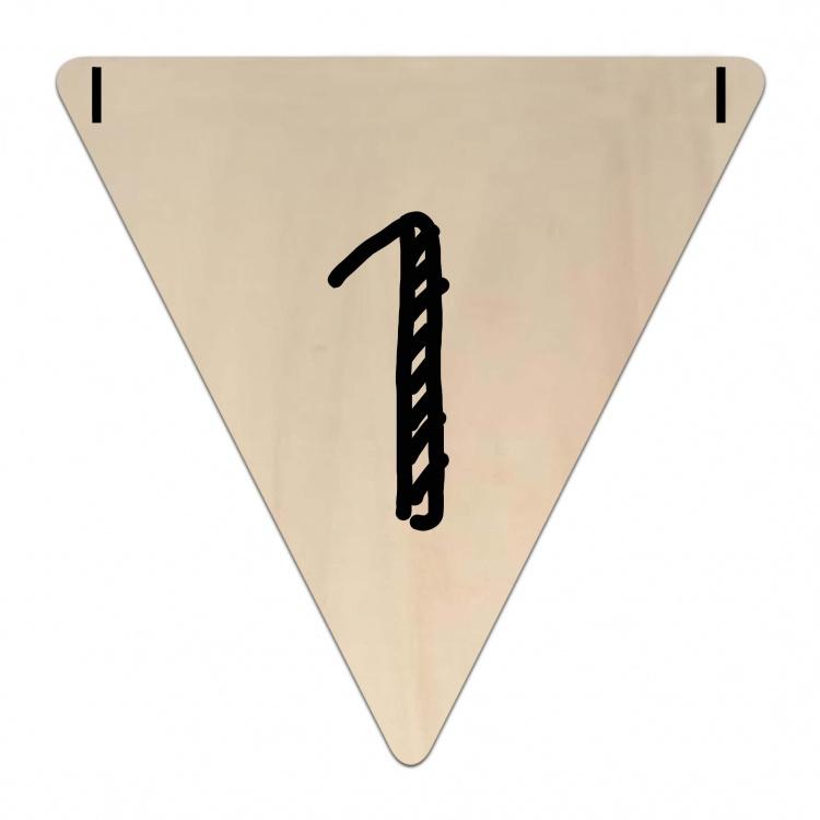 Houten Vlaggetje | 1 (cijfer) (per 5)