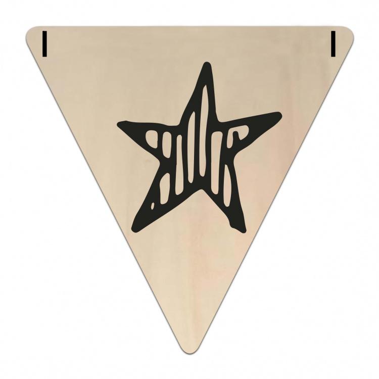 Houten Vlaggetje | Ster (symbool) (per 5)
