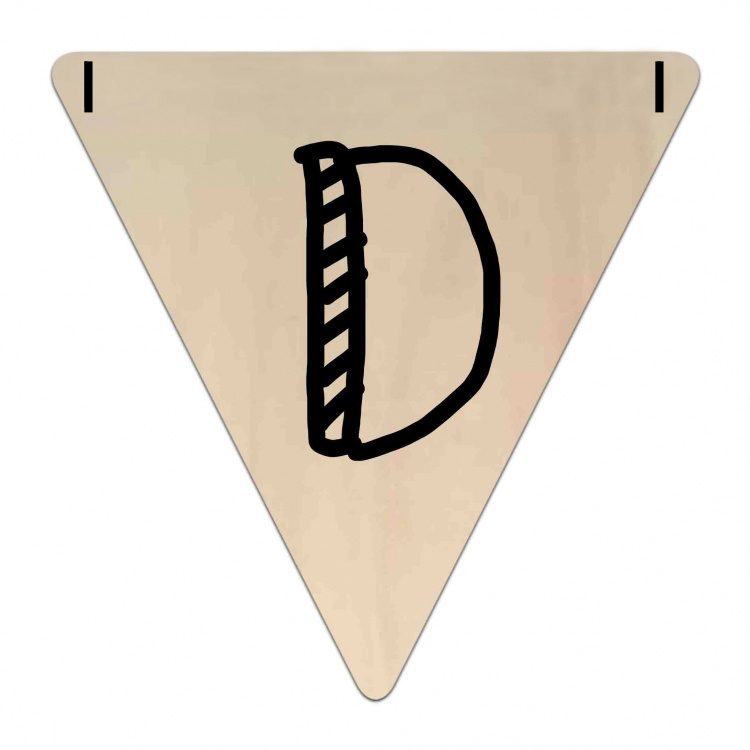 Houten Vlaggetje   D (letter) (per 5)