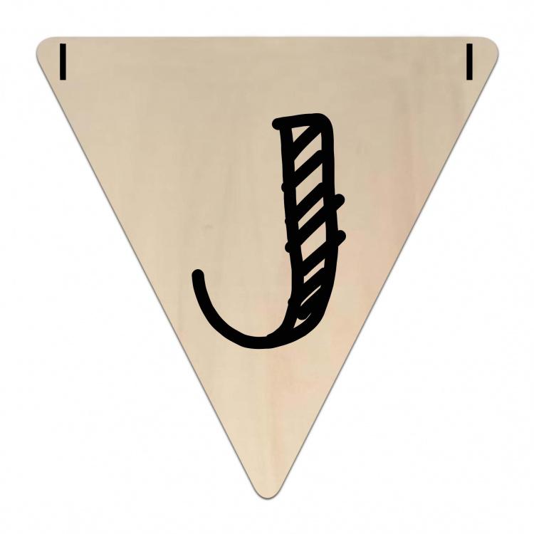 Houten Vlaggetje   J (letter) (per 5)