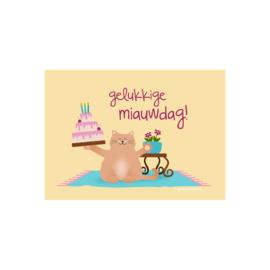 Wenskaart 'Gelukkige Miauwdag!' - kat met verjaardagstaart