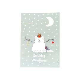 Sneeuwhond in winterlandschap (glanzend)