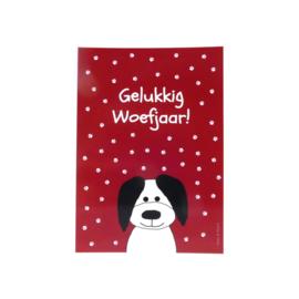 Kaart met vrolijke hond en hondenpootjes (glanzend)