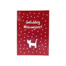 Kaart met vrolijke kat en kattenpootjes (glanzend)