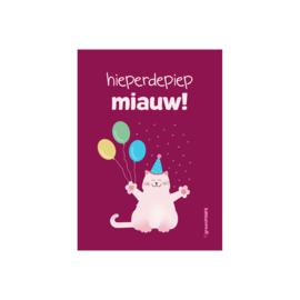 Wenskaart 'Hieperdepiep Miauw!' - katje met ballonnen