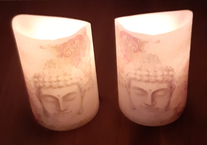 LED kaars boeddha per 2stuks