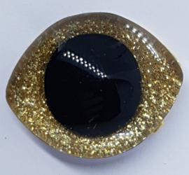 Grote Gouden Sparkle Glitter Veiligheids Ogen 28x23mm