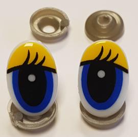 Veiligheids Ogen Geel Blauw 13x20mm per paar