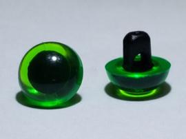 2 Half Ronde Groene Ogen Knoopjes 9mm