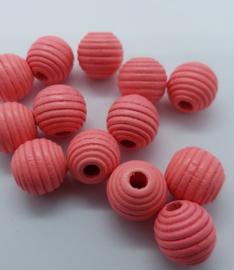 Ribbel Kralen Zalm Roze 14 mm