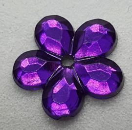 Paarse Bloemen Pailletten 12mm
