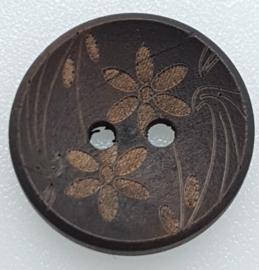 Donker Bruine Knopen met Bloemen 20mm