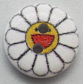 Knoop Wit met Bloem II 15mm