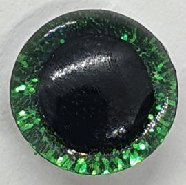 Groene Sparkle Glitter Veiligheids Ogen 12 mm II