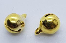 Goudkleurige  Ronde Belletjes 6mm (10 Stuks)