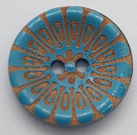 Gebloemde Knoop Blauw 20mm