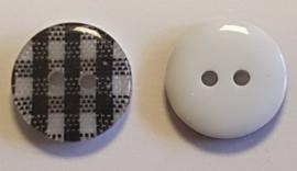 Zwart Wit Geruite Knopen 13mm