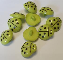 Lieveheersbeestje knoop Appel Groen 16mm (10 stuks)