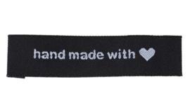 Zwarte Stoffen Hand Made with Love  labels  (5 stuks)