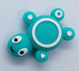 Siliconen Kraal Schildpad Groen Blauw