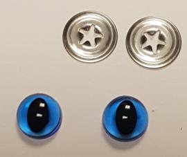 Blauwe Doorzichtige Kwaliteits Kattenogen 9mm