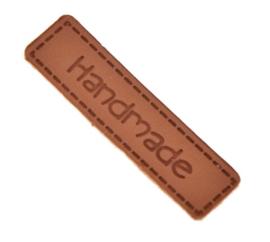 Leatherlook Hand Made labels zonder gaatjes 4 x 1 cm