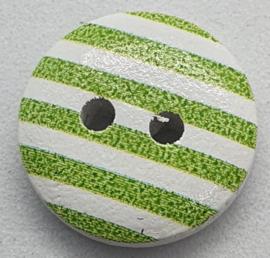 8 Witte Knopen met Groene strepen 15mm