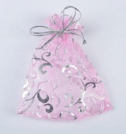 9x12 cm Licht Roze Organza Zakje met Zilveren Bloemen