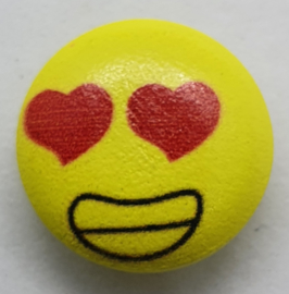 Knoop Geel met Emoji Hartjes Ogen