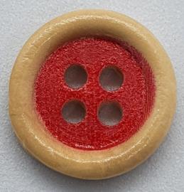 Ronde Houten Knopen met Rood 15 mm