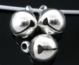 Zilverkleurige ronde Belletjes Bel 8mm (10 stuks)