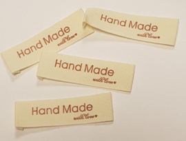 Katoenen Labels Hand Made with Love (5 stuks)