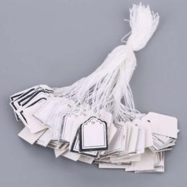 100 Witte Prijskaartjes met Zilveren rand 24x17 mm