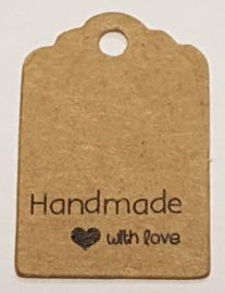 100 Bruine Prijskaartjes Hand made With Love Zwart 30x20 mm