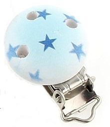 Houten Licht Blauwe Speenclip met sterren