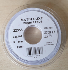 Wit Satin Luxe Double Face 3mm