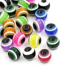 Boze oog kralen 8mm Mix van Kleuren