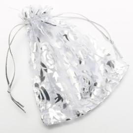 9x7 cm Grijze Organza Zakjes met Zilveren Rozen