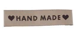 Beige Stoffen Handmade Labels 6 x1,5 cm (5 Stuks)