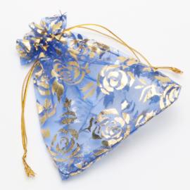 9x7 cm Blauwe Organza Zakjes met Gouden Rozen