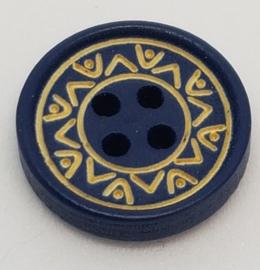 Blauwe Houten Knopen met 4 gaatjes 15mm