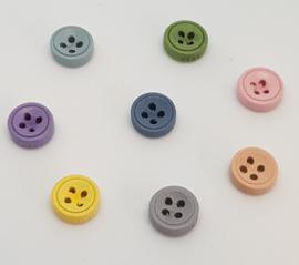 Gekleurde Houten Knopen met 4 gaatjes 9mm