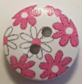 Witte knoopjes met Roze bloemen 15mm
