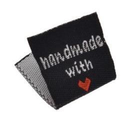 Zwarte Stoffen Handmade with ♥ Labels 2cm (10 stuks)