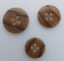 Bruin Zwart Gestreepte Knoop 14, 17 & 19 mm