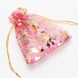 9x7 cm Roze Organza Zakjes met Gouden Rozen