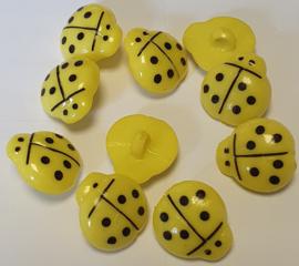 Lieveheersbeestje knoop Geel 16mm (10 stuks)