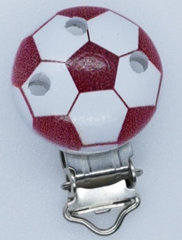 Houten Speenclip Voetbal Bordeaux Rood