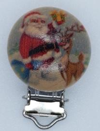 Houten Speenclip Kerst Motief Kerstman met Rendier